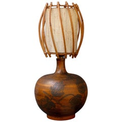 Ceramic Lamp with Leaf Motif and Original Rattan Shade by Jacques Blin, 1950s