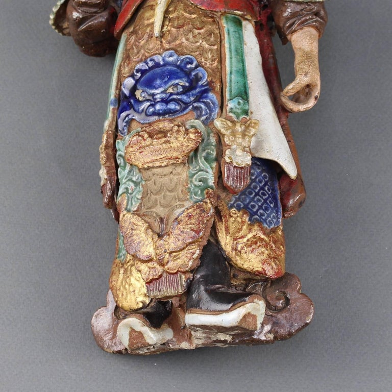 Set of Two 19th Century Chinese Earthenware Decorative Wall-Hanging Figures For Sale 6