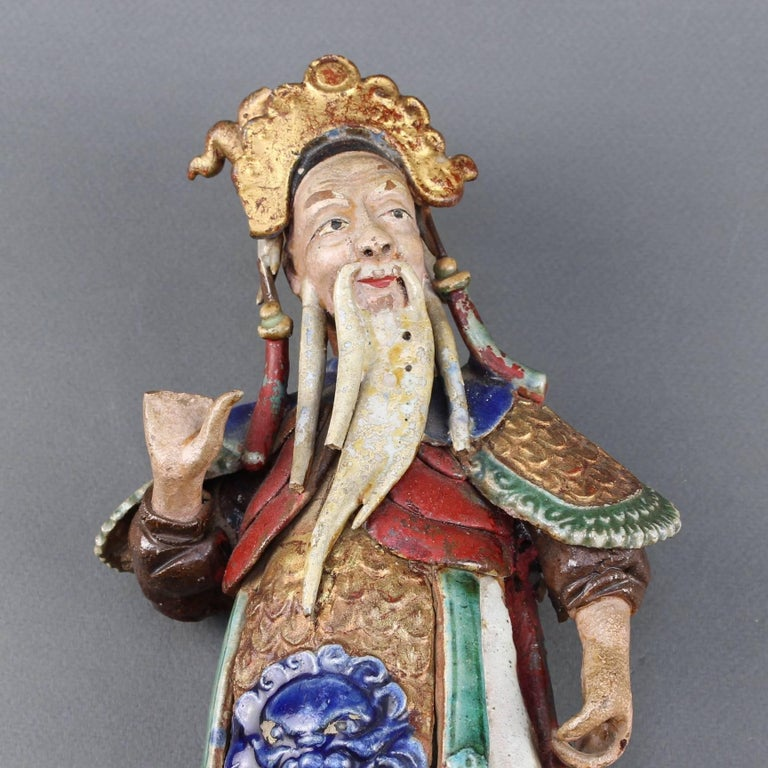Set of Two 19th Century Chinese Earthenware Decorative Wall-Hanging Figures For Sale 5