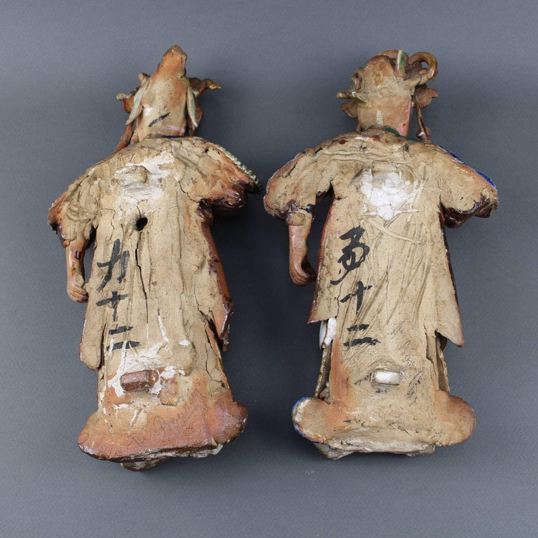 Set of Two 19th Century Chinese Earthenware Decorative Wall-Hanging Figures For Sale 7