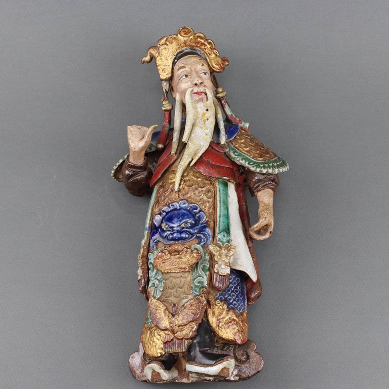 Set of Two 19th Century Chinese Earthenware Decorative Wall-Hanging Figures For Sale 3