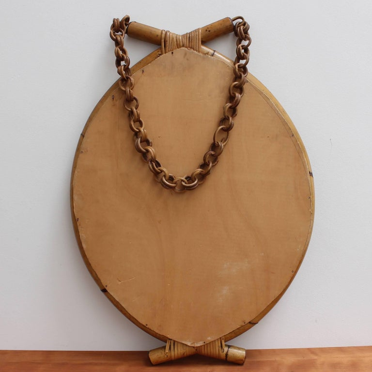 Italian 'Eye-Shaped' Style Bamboo and Rattan Mirror with Hanging Chain For Sale 4