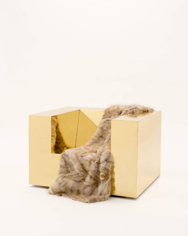 Brass Subtracted Cube by Videre Licet, 2015 For Sale