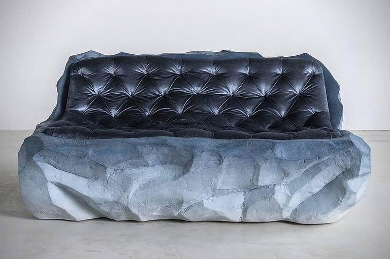 "Drift (sofa) Sand and silk velvet 40"" H x 60"" W x 28"" D Edition of 3 This work was part of the solo exhibition,"