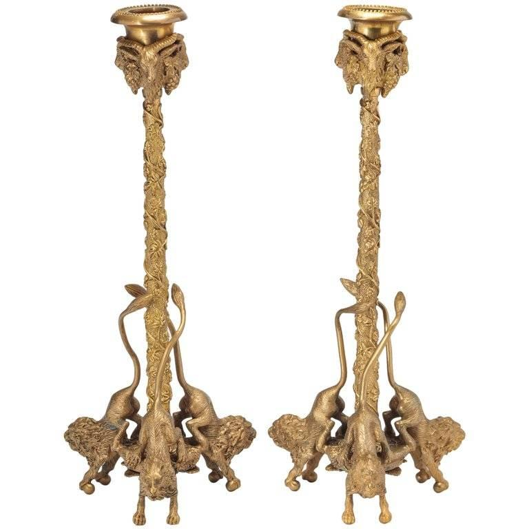 Pair of Whimsical Gilt Bronze Ram and Lion Cast Candlesticks