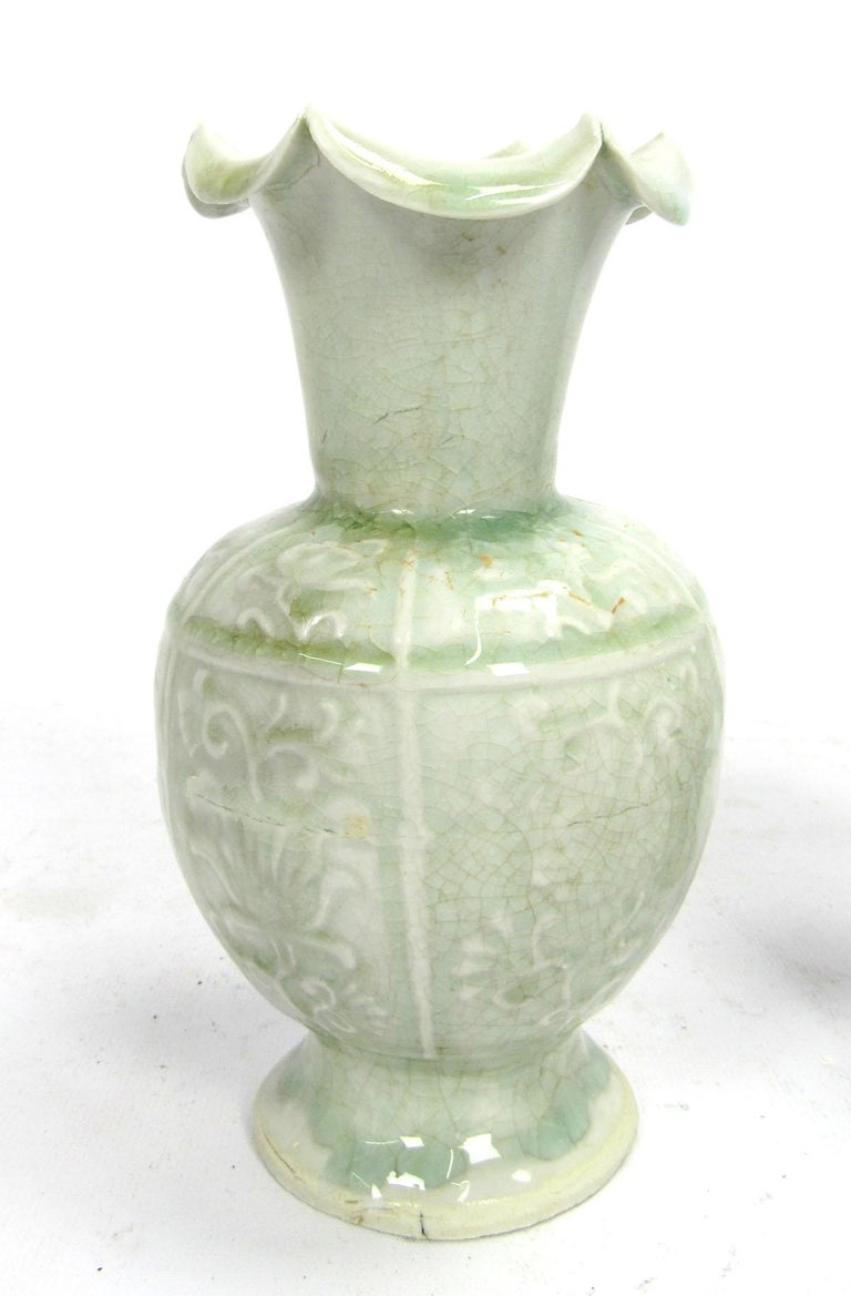 Chinese Set of Two Early 20th Century Celadon Vases For Sale