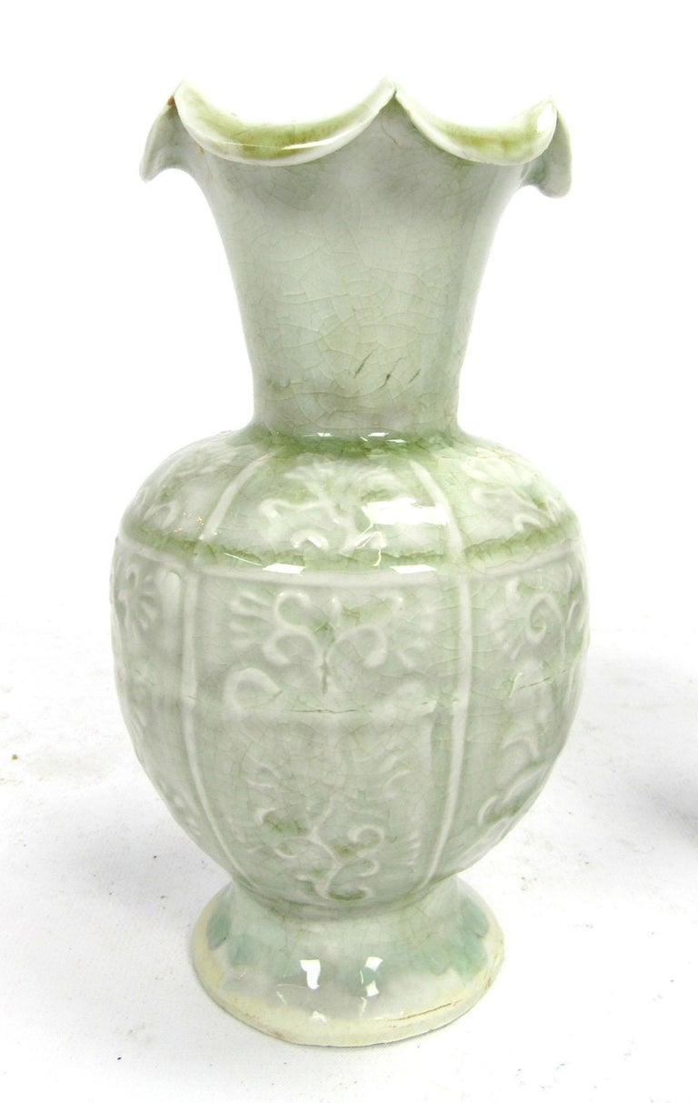 Set of Two Early 20th Century Celadon Vases In Excellent Condition For Sale In Dallas, TX