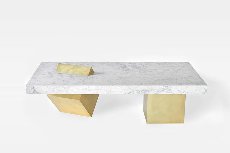 Coexist Marble And Brass Coffee Table By Slash Objects Made In USA - Marble cube coffee table