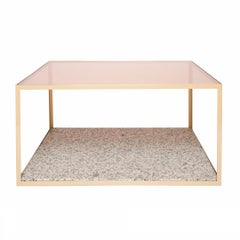 Fitted Coffee Table in Blush Glass and Pink Composition