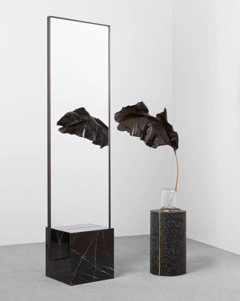 American Nero Coexist Standing Mirror with Black Concrete Rubber CYL and Black Marble For Sale