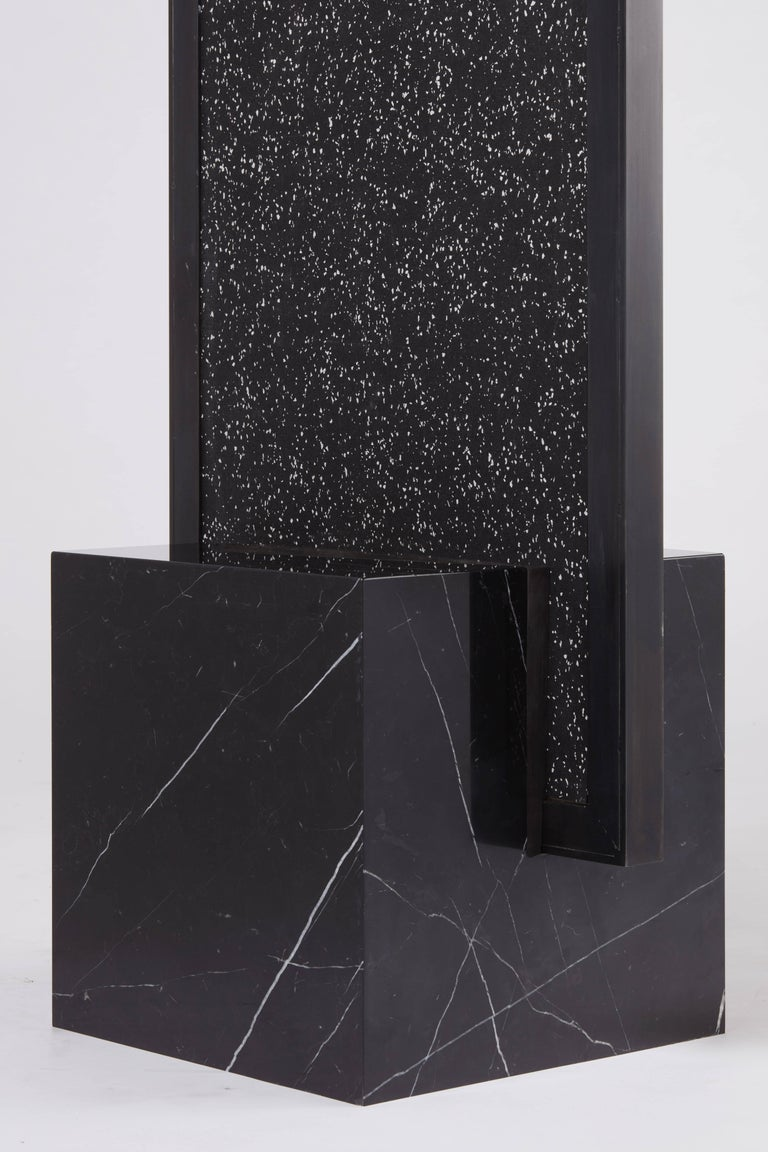Other Nero Coexist Standing Mirror with Black Concrete Rubber CYL and Black Marble For Sale