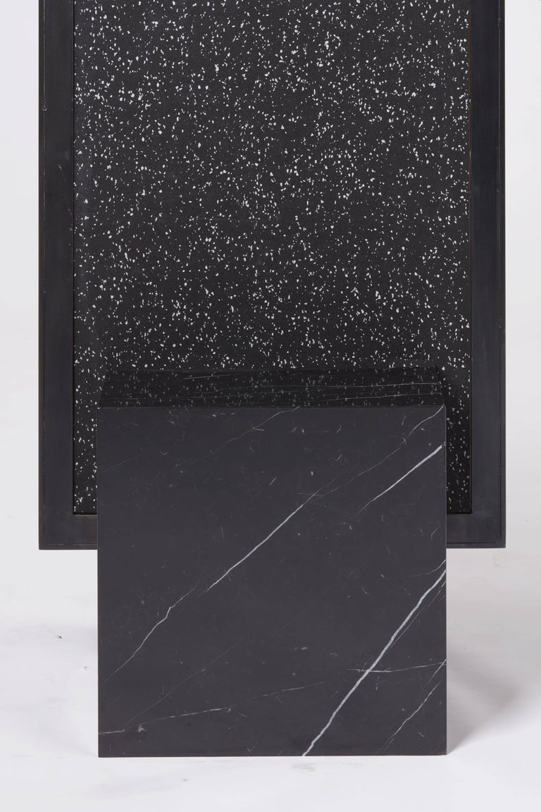 Polished Nero Coexist Standing Mirror with Black Concrete Rubber CYL and Black Marble For Sale