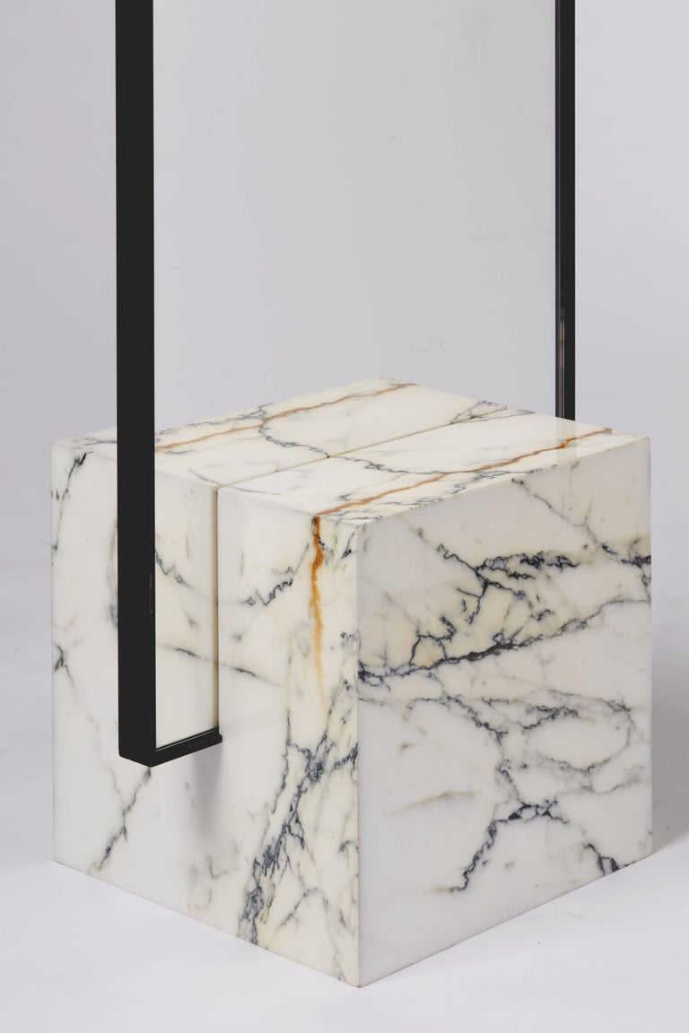 Coexist Slash Standing Mirror With Polished Marble Cube Concrete Rubber And Black Steel Frame