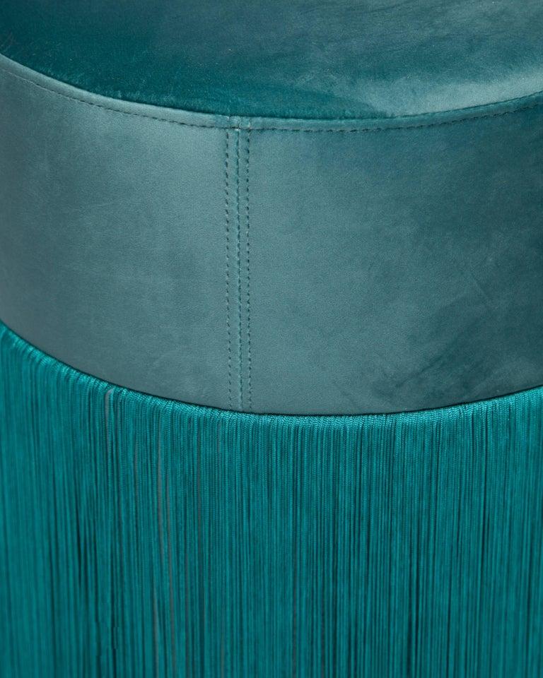 Spanish Pouf Pill Musk Green in Velvet Upholstery with Fringes For Sale
