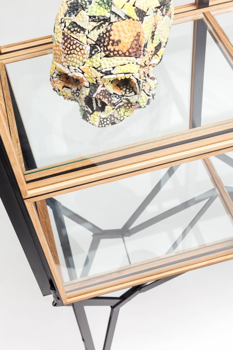 Dutch 4 x 2 Blk Oak Showcase Cabinet by Paul Heijnen, Handmade in Netherlands For Sale