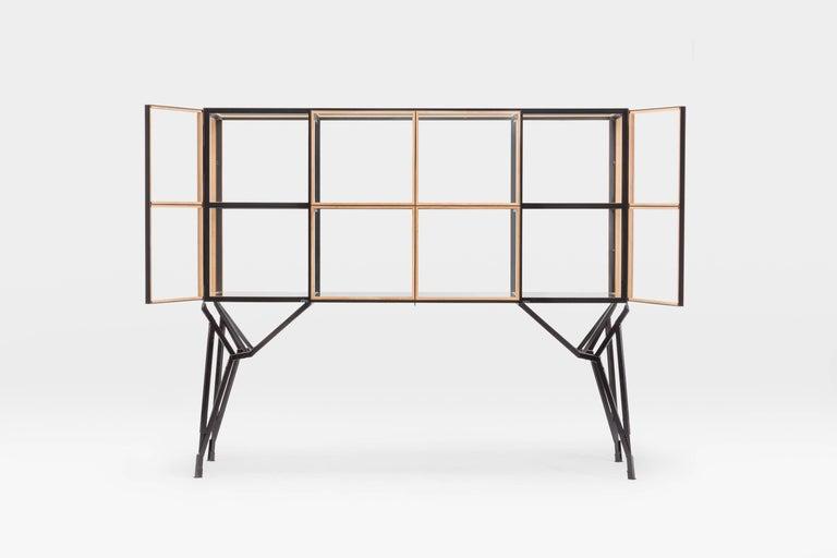 Hand-Crafted 4 x 2 Blk Oak Showcase Cabinet by Paul Heijnen, Handmade in Netherlands For Sale