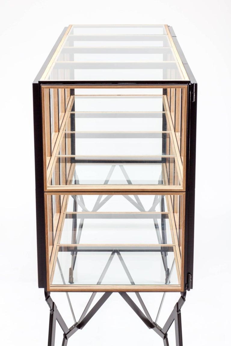 4 x 2 Blk Oak Showcase Cabinet by Paul Heijnen, Handmade in Netherlands In New Condition For Sale In Firenze, IT