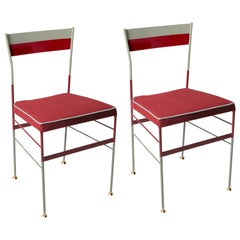 Pair of Pontina Red Chairs by Sotow, Made in Italy