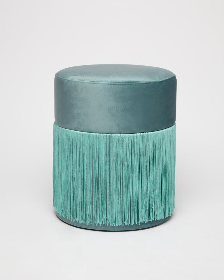 Pouf Pill Turquoise in Velvet Upholstery with Fringes In New Condition For Sale In Firenze, IT