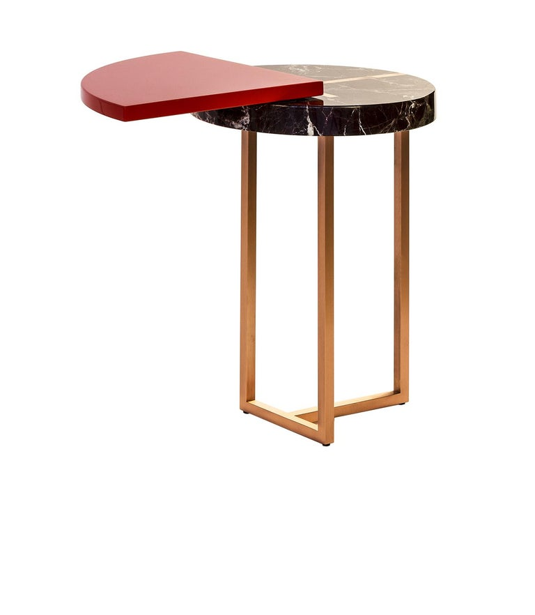 Other Red Wing End Table in Lacquer Wood, Rosso Lepanto Marble and Copper For Sale