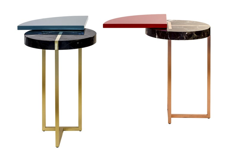 Hand-Crafted Red Wing End Table in Lacquer Wood, Rosso Lepanto Marble and Copper For Sale