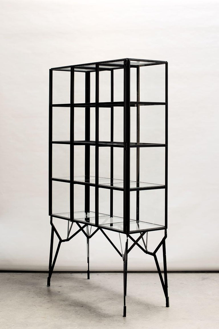 Showcase Cabinet In Warm Rolled Steel With Glass Panels Handmade In