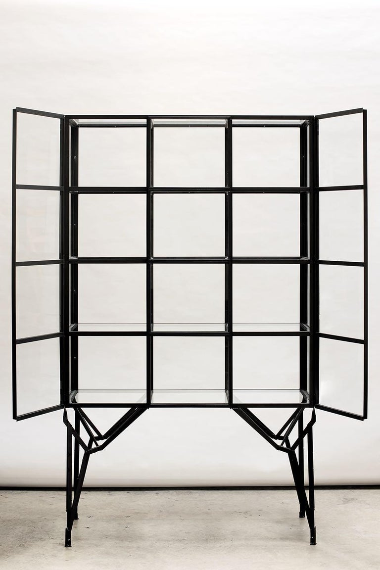 Other Showcase Cabinet in Warm Rolled Steel with Glass Panels, Handmade in Netherlands For Sale