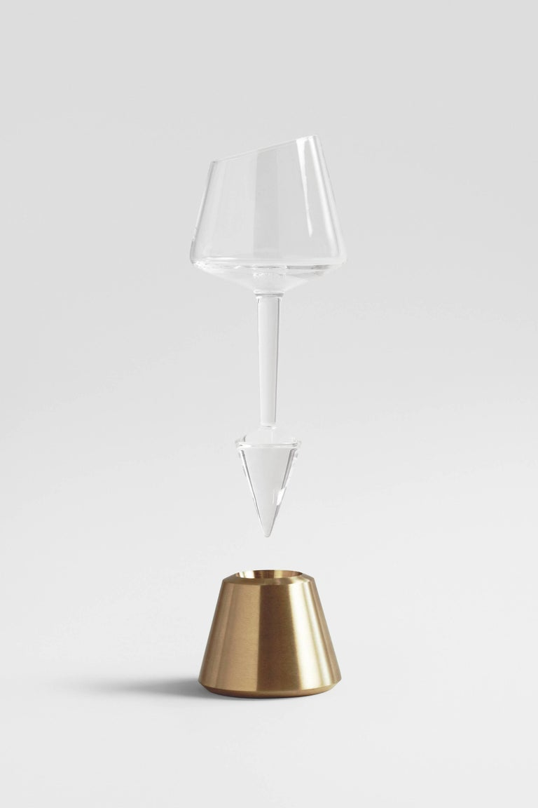 Other Bishop of Norwich Wine Glasses and Decanter with Oak Ebonized, Glass and Brass For Sale