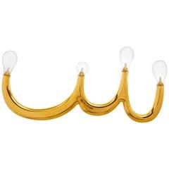 Vier Lampen Wandleuchte aus Keramik mit 24 Karat Gold, Made in Italy, New York