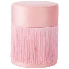 Pouf Pill Pink in Velvet Upholstery with Fringes - 1stdibs New York