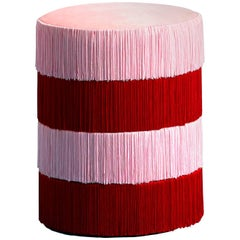 Pouf Chachachá Pink and Red with Fringes - 1stdibs New York
