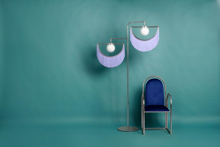 Spanish Wink Gold-Plated Floor Lamp Postmodernist Style with Green Fringes For Sale