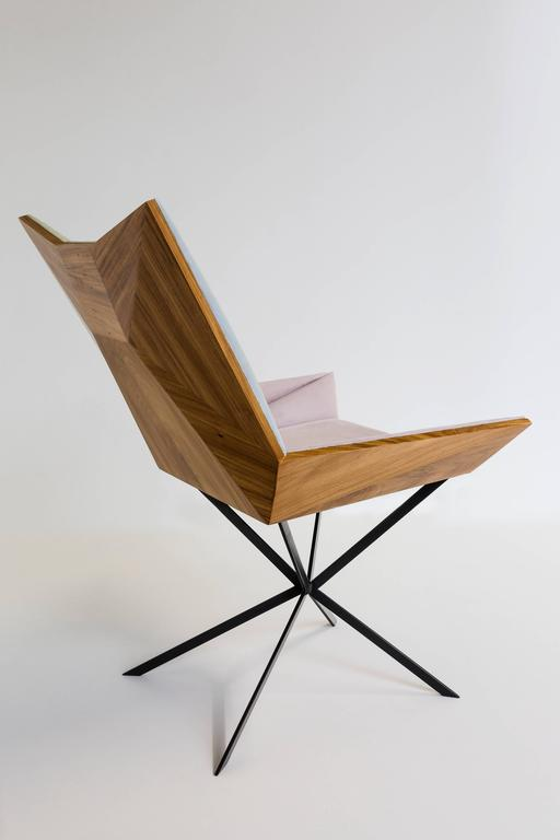 Contemporary Yvy Chair in Suede and Peroba Do Campo Wood by Nicolò Friedman  In New Condition For Sale In Firenze, IT