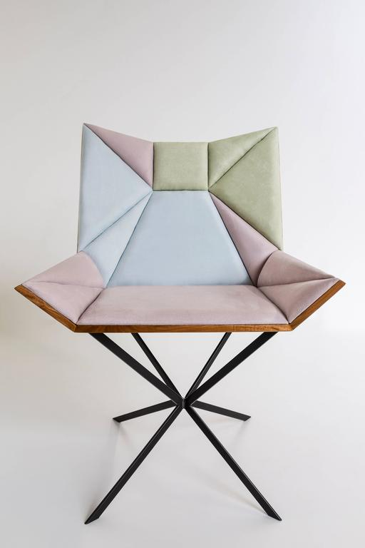Brazilian Contemporary Yvy Chair in Suede and Peroba Do Campo Wood by Nicolò Friedman  For Sale