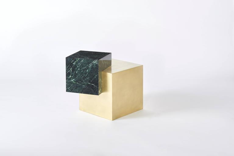 Other Coexist Askew Marble and Brass Side Table by Slash Objects, Made in USA For Sale
