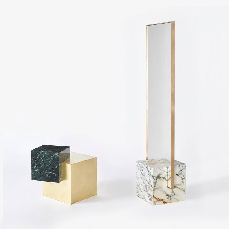 American Coexist Askew Marble and Brass Side Table by Slash Objects, Made in USA For Sale