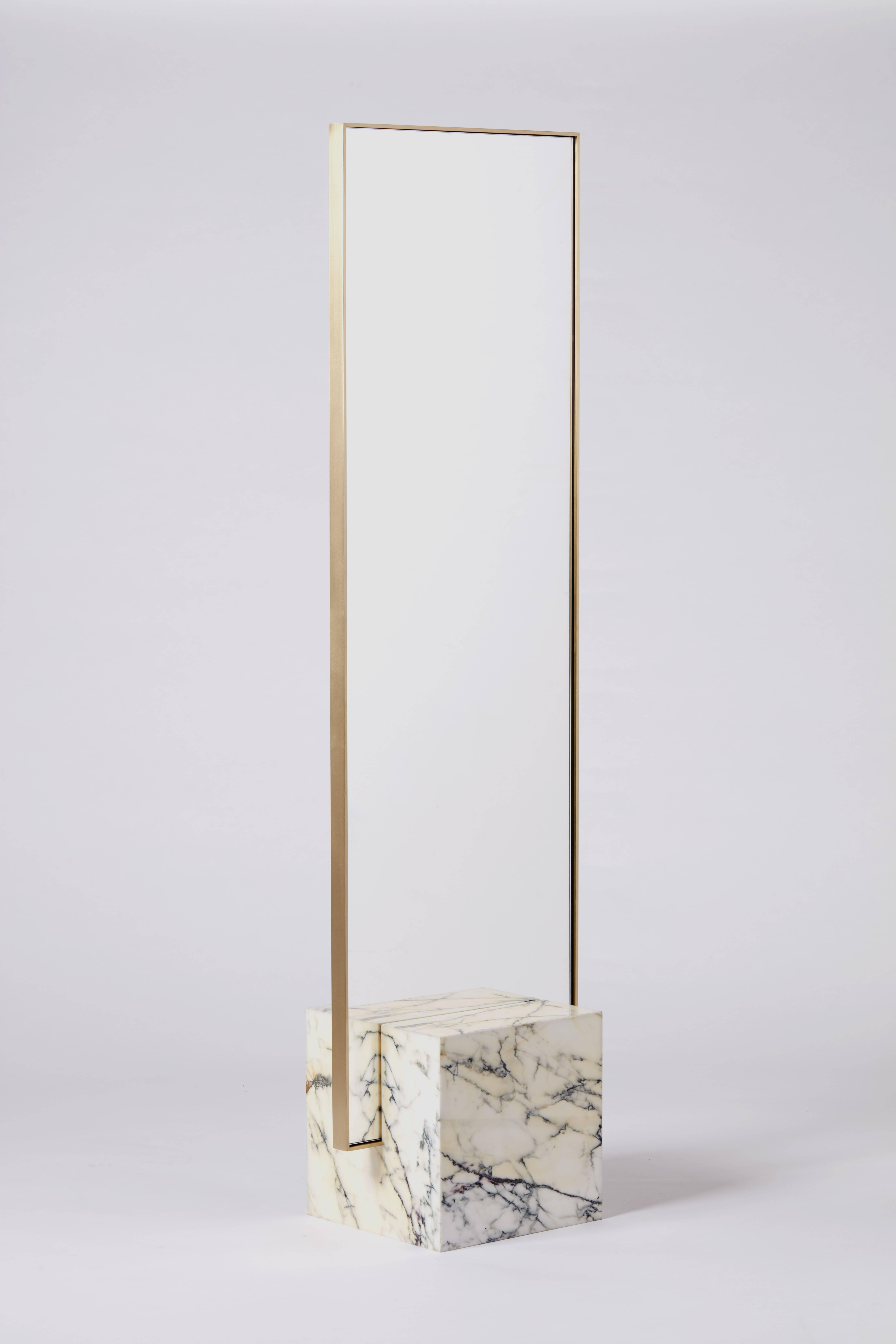 Coexist Slash Standing Mirror With Marble And Brass By Slash