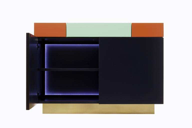 This is a wonderful furniture piece for any contemporary home or building. By the combination of colors and shapes Greta results of a ludic geometrical assembling together with a discrete feminine inspiration.