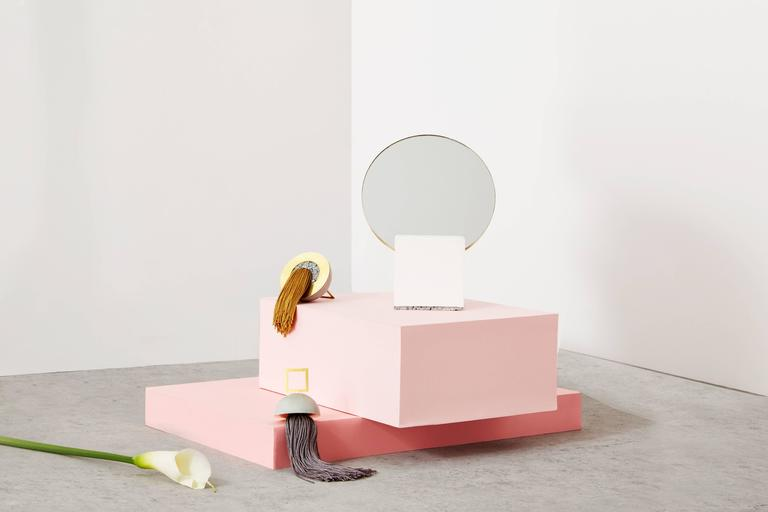 Other Slash Vanity Mirror Pink and Royal by Slash Objects, Made in USA For Sale
