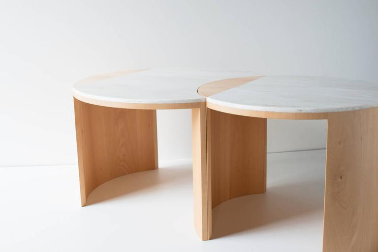 Contemporary Gibbous Coffee Table in European beech with Witch Hazel Corian. 2