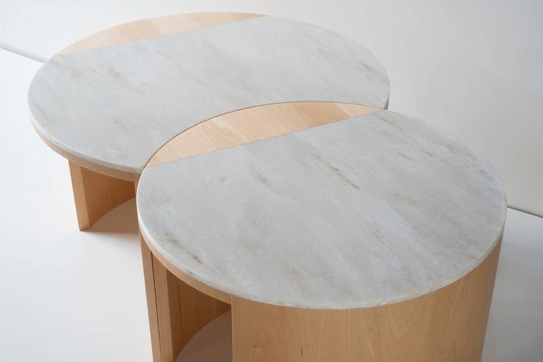 Contemporary Gibbous Coffee Table in European beech with Witch Hazel Corian. 4