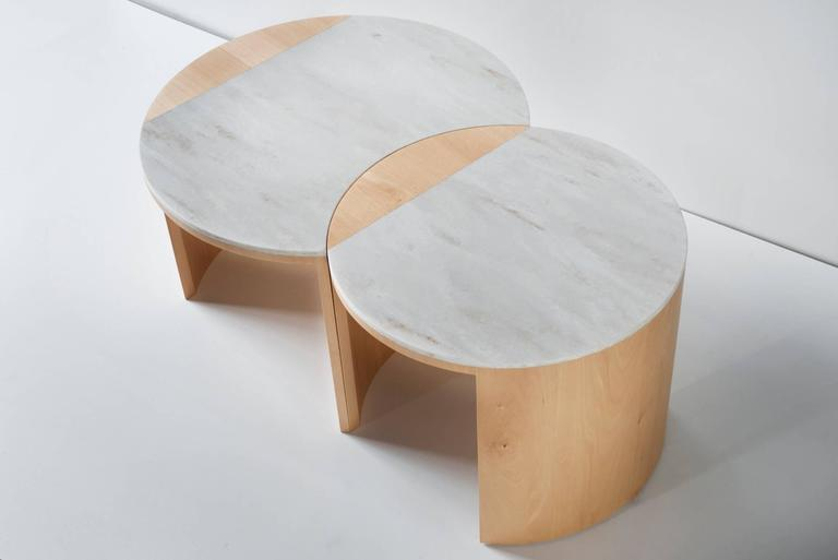 Contemporary Gibbous Coffee Table in European beech with Witch Hazel Corian. 6
