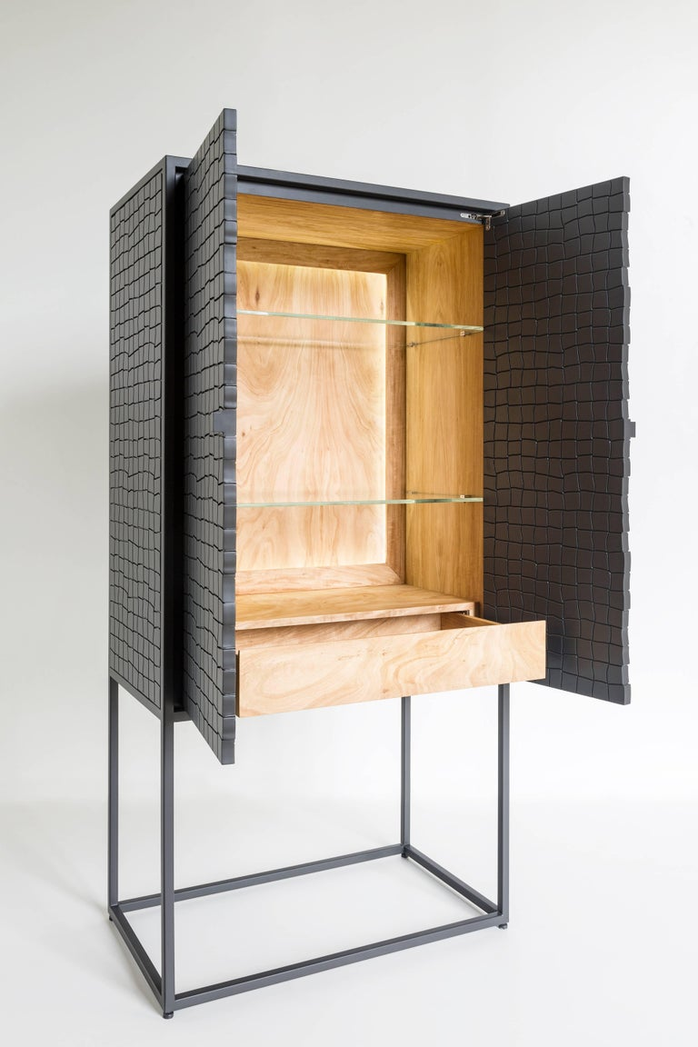 Other Basa Cabinet in Iron structure, interior in Peroba do Campo wood, lacquered MDF. For Sale