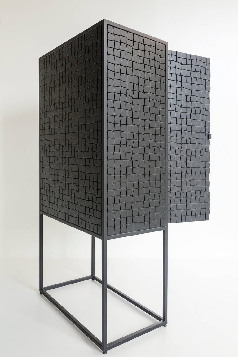 Lacquered Basa Cabinet in Iron structure, interior in Peroba do Campo wood, lacquered MDF. For Sale