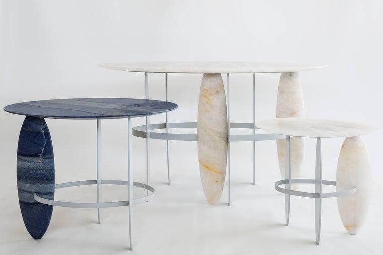Brazilian Contemporary Pablona Moon White Quartzite Lumix Side Table by Leonardo Di Caprio For Sale