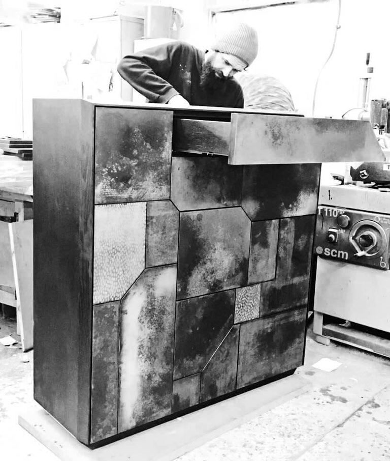 Other Elementi Copper Patina Sculptural Cabinet by Andrea Felice  For Sale