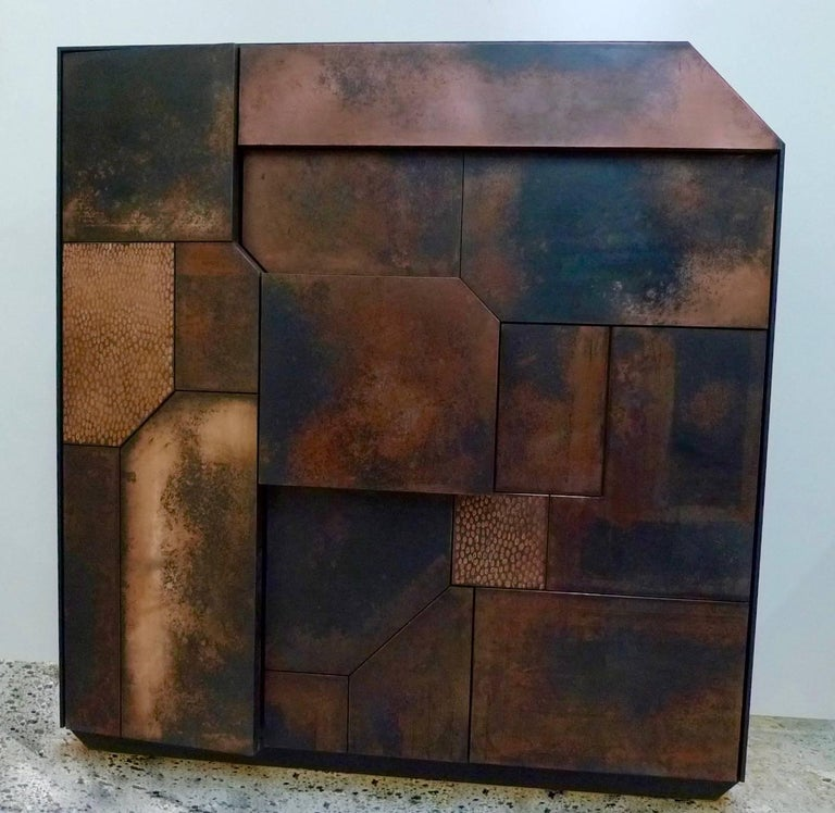 English Elementi Copper Patina Sculptural Cabinet by Andrea Felice  For Sale