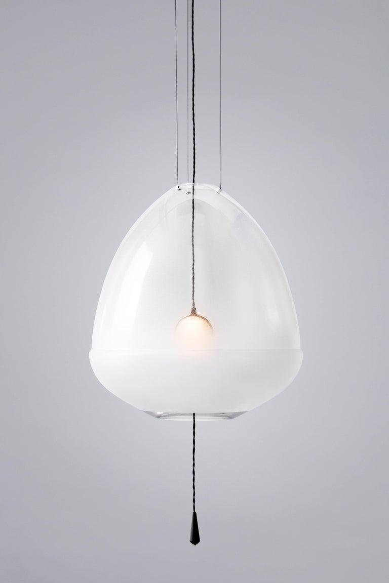 Durchsichtige runde weiße Lampe von Vantot, hergestellt in Deutschland 2
