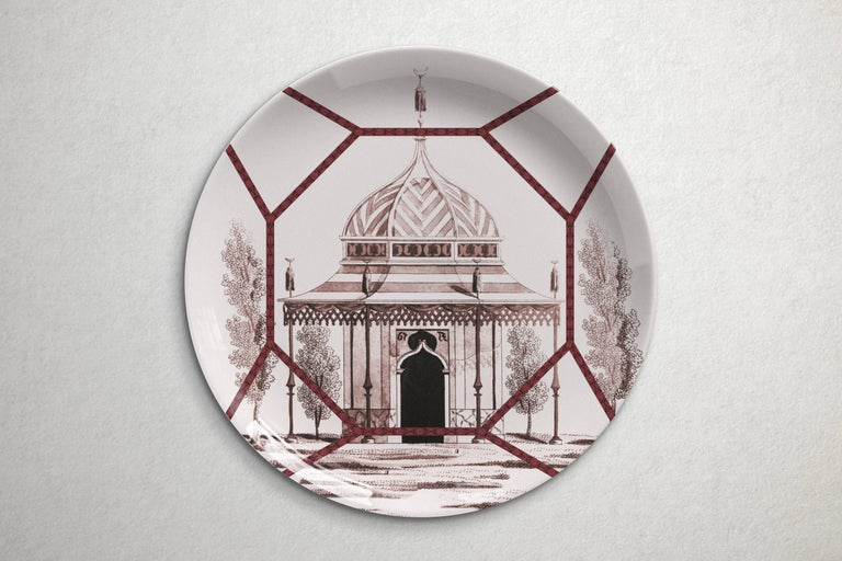 Beautiful Toptaki red porcelain dinner plate by Vito Nesta for Les Ottomans will make an elegant statement with sophisticated Art de la table for every occasion  Handmade in Italy  Upon request available in a set of three or six plates.