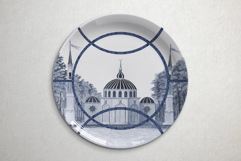 Beautiful Toptaki blue porcelain dinner plate by Vito Nesta for Les Ottomans will make an elegant statement with sophisticated Art de la table for every occasion